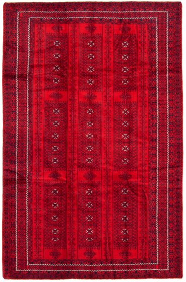Bordered  Tribal Red Area rug 5x8 Afghan Hand-knotted 342395