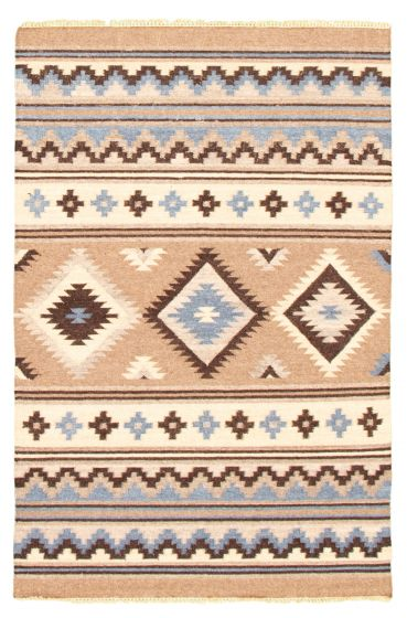 Flat-weaves & Kilims  Traditional Brown Area rug 5x8 Turkish Flat-weave 344462