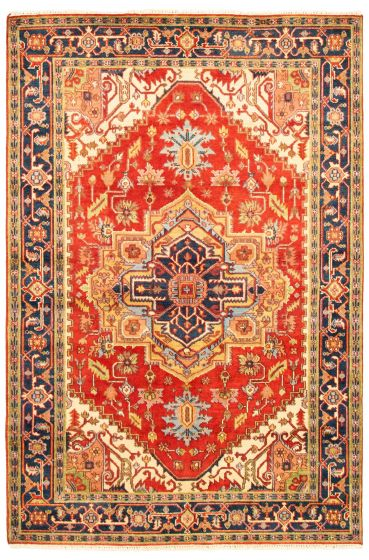 Bordered  Traditional Red Area rug 5x8 Indian Hand-knotted 344616