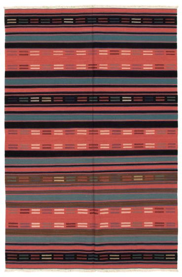 Bohemian  Stripes Brown Area rug 5x8 Turkish Flat-weave 346046