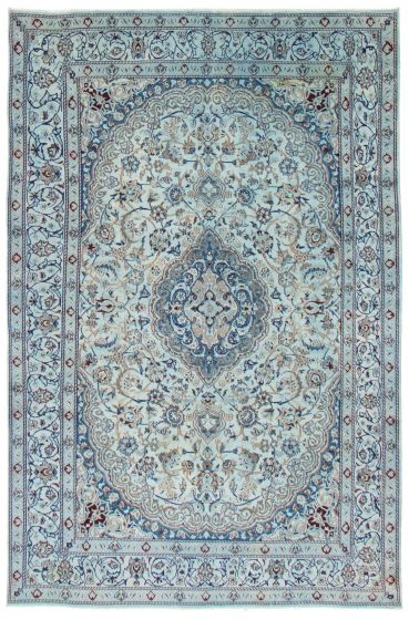 Bordered  Transitional Blue Area rug 6x9 Persian Hand-knotted 367209