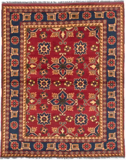 Tribal Red Area rug 4x6 Afghan Hand-knotted 202967