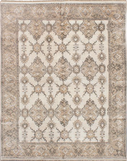 Traditional Ivory Area rug 6x9 Indian Hand-knotted 222691