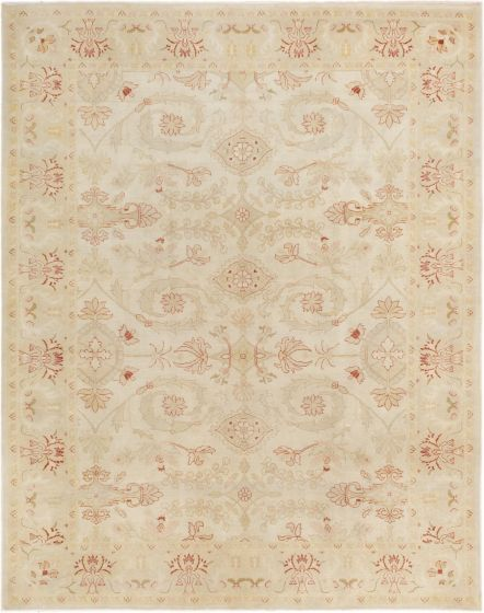 Bordered  Traditional Ivory Area rug 6x9 Turkish Hand-knotted 280778