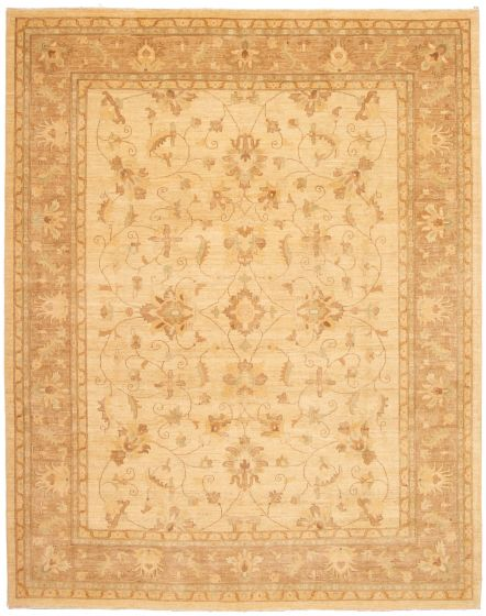 Bordered  Traditional Ivory Area rug 9x12 Pakistani Hand-knotted 330612