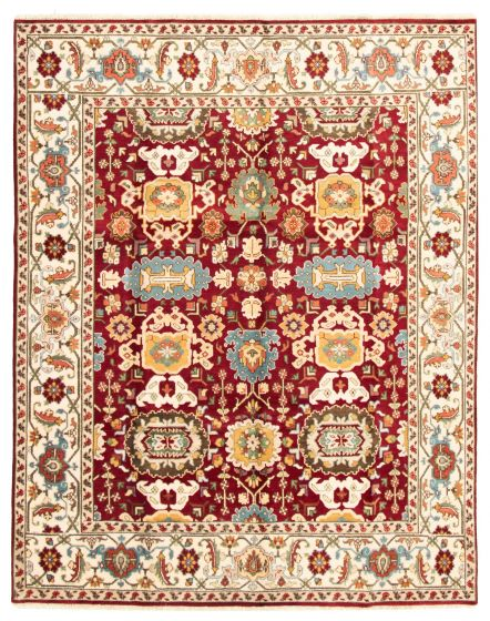 Bordered  Traditional Red Area rug 6x9 Indian Hand-knotted 331576