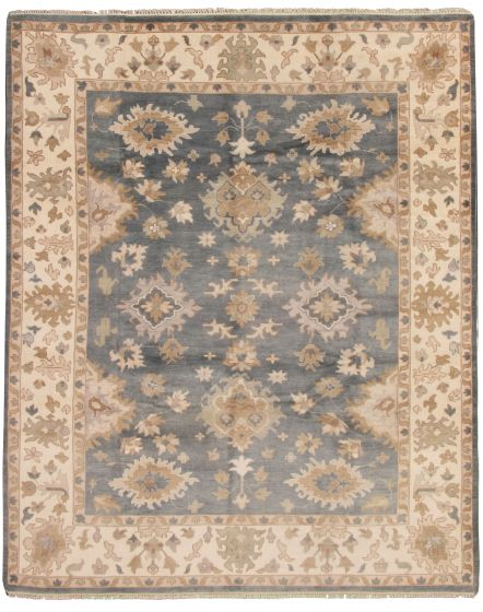 Bordered  Traditional Blue Area rug 9x12 Indian Hand-knotted 337593