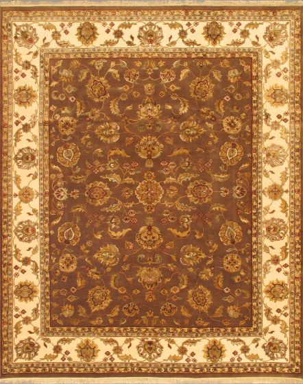Traditional Brown Area rug 6x9 Indian Hand-knotted 3212