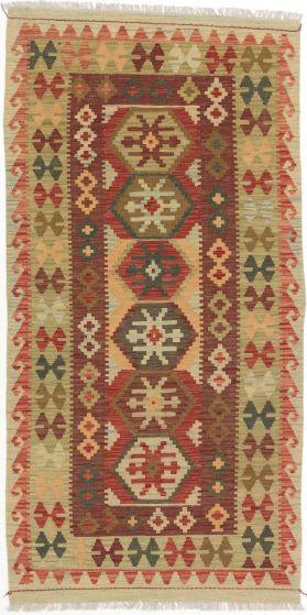 Flat-weaves & Kilims  Traditional Orange Area rug Unique Turkish Flat-weave 198104