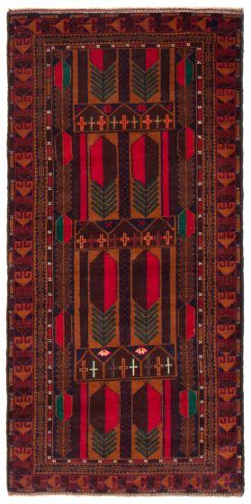 Geometric  Tribal Red Runner rug 7-ft-runner Afghan Hand-knotted 367525
