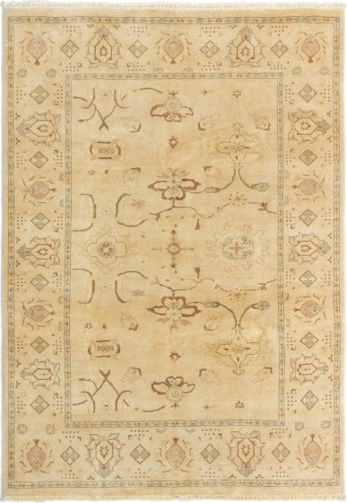Bordered  Traditional Ivory Area rug 5x8 Afghan Hand-knotted 280544