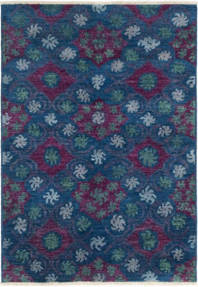 Casual  Transitional Blue Area rug 5x8 Indian Hand-knotted 280594