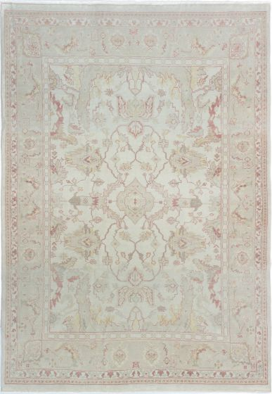 Bordered  Traditional Ivory Area rug 6x9 Turkish Hand-knotted 280809