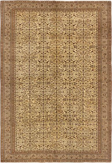 Bordered  Vintage Ivory Area rug 5x8 Turkish Hand-knotted 280963