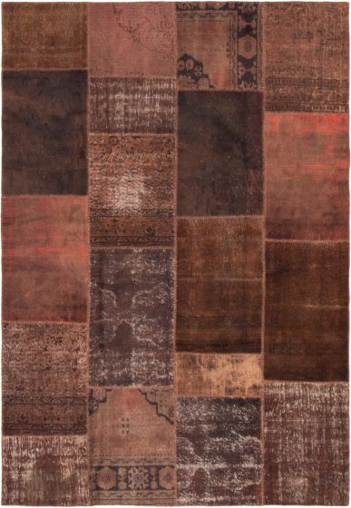 Casual  Transitional Brown Area rug 6x9 Turkish Hand-knotted 296514