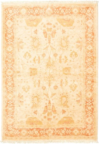 Bordered  Traditional Ivory Area rug 5x8 Pakistani Hand-knotted 318289