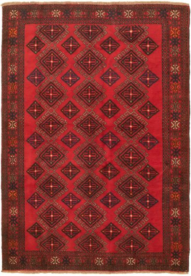 Bordered  Tribal Red Area rug 5x8 Turkish Hand-knotted 318488