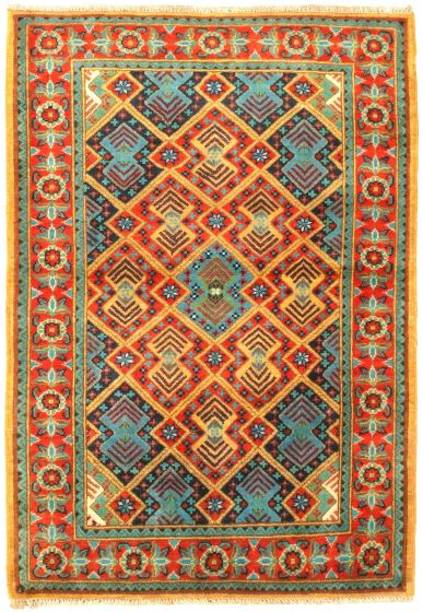 Bordered  Traditional Red Area rug 3x5 Afghan Hand-knotted 329860