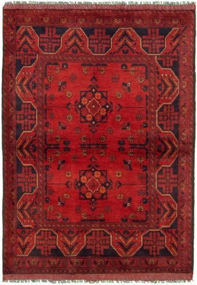 Bordered  Tribal Red Area rug 3x5 Afghan Hand-knotted 330294