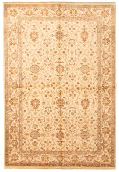 Bordered  Traditional Ivory Area rug 5x8 Afghan Hand-knotted 331242