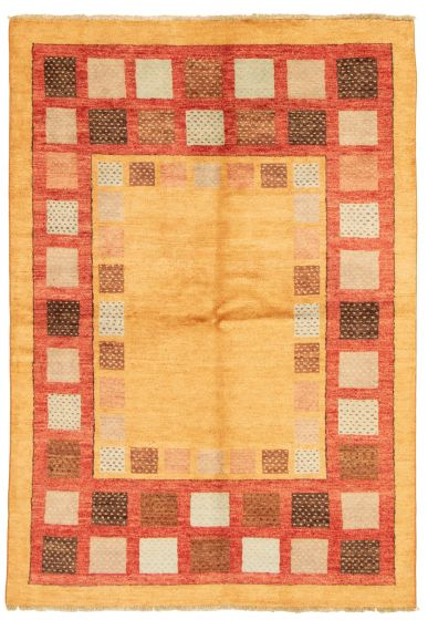 Bordered  Transitional Orange Area rug 5x8 Pakistani Hand-knotted 331484