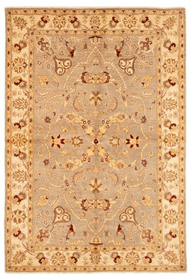 Bordered  Traditional Grey Area rug 5x8 Afghan Hand-knotted 331629
