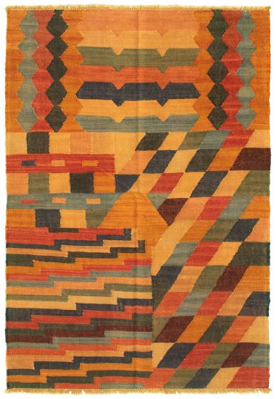 Casual  Transitional Brown Area rug 3x5 Turkish Flat-weave 335461