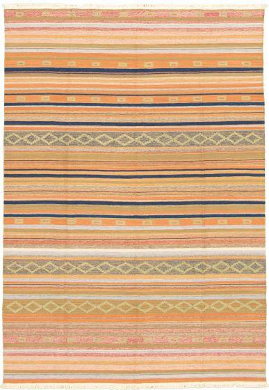 Bohemian  Transitional Blue Area rug 5x8 Turkish Flat-weave 335889