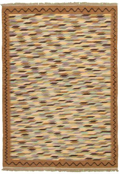 Bohemian  Transitional Brown Area rug 5x8 Turkish Flat-weave 336825