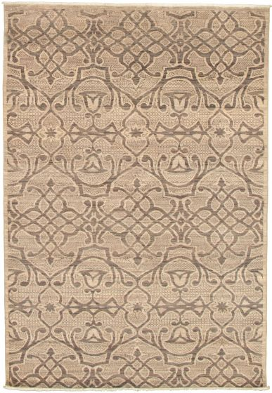 Casual  Transitional Grey Area rug 5x8 Pakistani Hand-knotted 339009