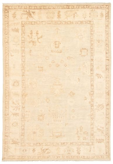 Bordered  Transitional Grey Area rug 5x8 Pakistani Hand-knotted 339032