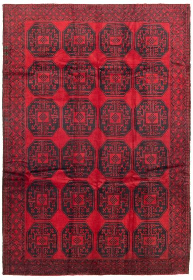 Bordered  Tribal Red Area rug 5x8 Afghan Hand-knotted 342477
