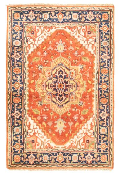 Bordered  Traditional Brown Area rug 3x5 Indian Hand-knotted 344850