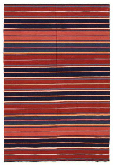 Bohemian  Stripes Red Area rug 5x8 Turkish Flat-weave 346172