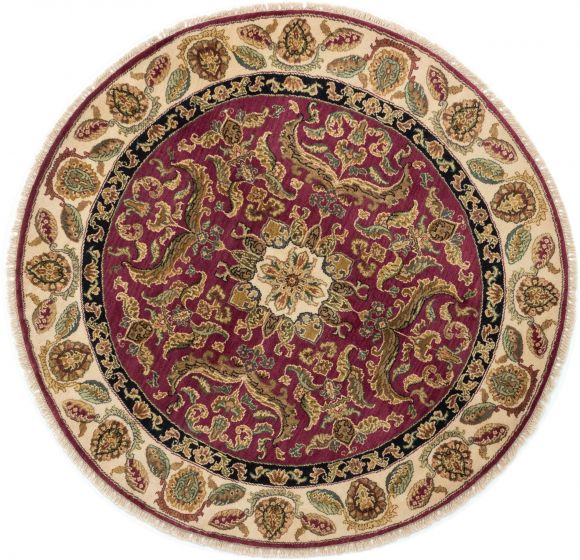 Bordered  Traditional Red Area rug Round Indian Hand-knotted 280399