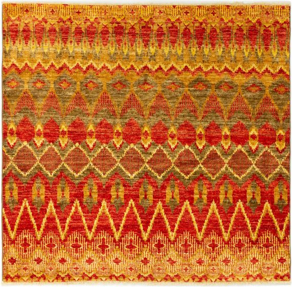 Casual  Transitional Red Area rug Square Indian Hand-knotted 280294