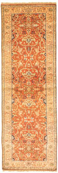 Bordered  Traditional Brown Runner rug 8-ft-runner Indian Hand-knotted 331921