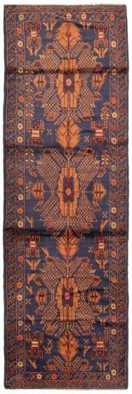 Bordered  Tribal Blue Runner rug 10-ft-runner Afghan Hand-knotted 342461