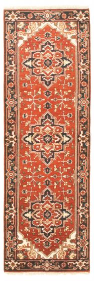 Bordered  Traditional Brown Runner rug 8-ft-runner Indian Hand-knotted 344538