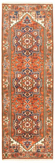Bordered  Traditional Brown Runner rug 8-ft-runner Indian Hand-knotted 344583