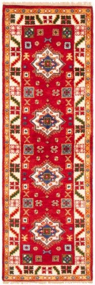 Bordered  Traditional Red Runner rug 8-ft-runner Indian Hand-knotted 364364