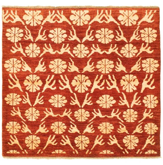 Casual  Transitional Red Area rug 4x6 Pakistani Hand-knotted 331606