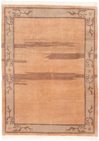 Transitional Ivory Area rug 6x9 Nepal Hand-knotted 191313