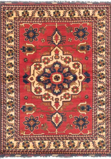 Tribal Red Area rug 4x6 Afghan Hand-knotted 202922