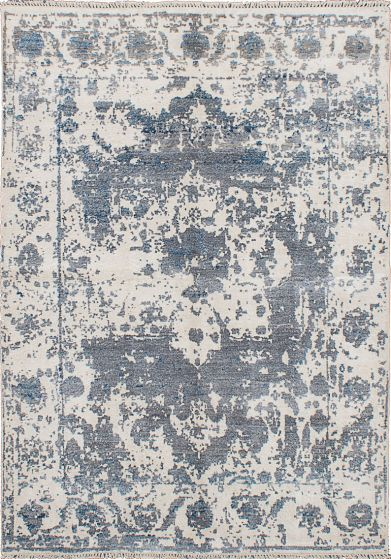 Bohemian  Casual Ivory Area rug 5x8 Indian Hand-knotted 222721