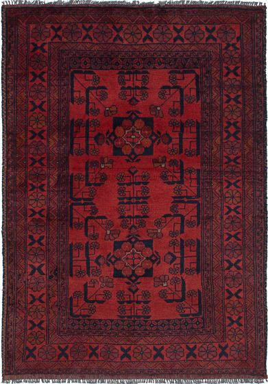 Geometric  Tribal Red Area rug 3x5 Afghan Hand-knotted 236119
