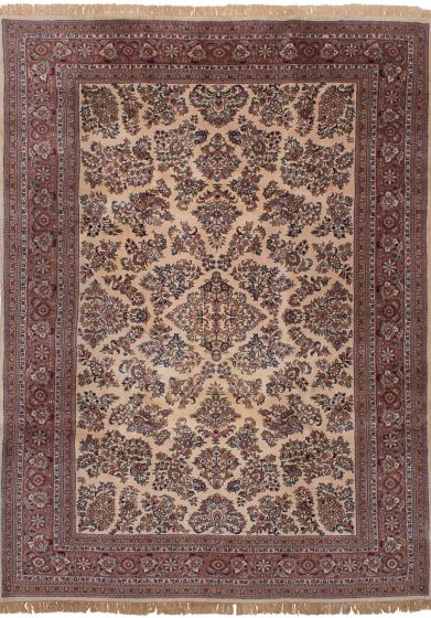 Floral  Traditional Ivory Area rug 8x10 Indian Hand-knotted 245983