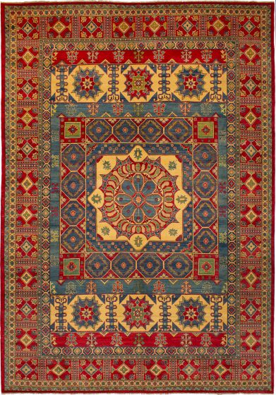 Bordered  Traditional Red Area rug 10x14 Afghan Hand-knotted 272433