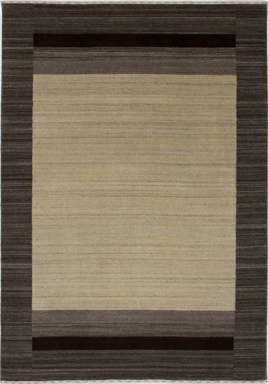 Contemporary  Solid Yellow Area rug 5x8 Indian Hand-knotted 279654
