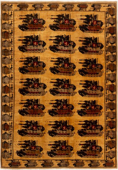 Bordered  Tribal Brown Area rug 6x9 Afghan Hand-knotted 280214